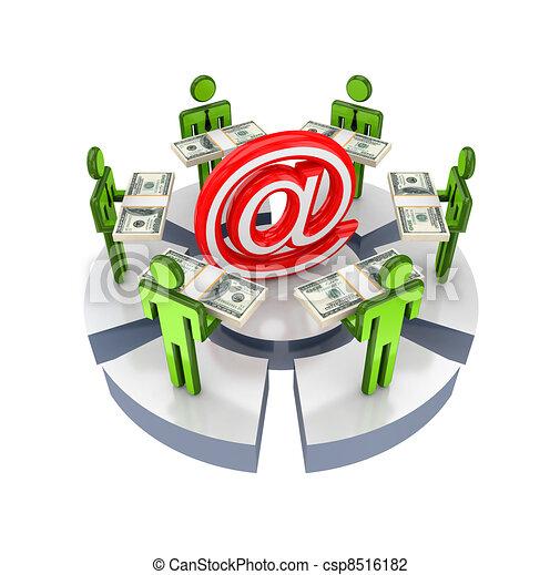 3D gente pequeña alrededor de la señal de correo electrónico. - csp8516182