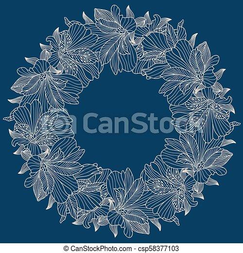 alstroemeria, 輪, 背景, 框架 - csp58377103