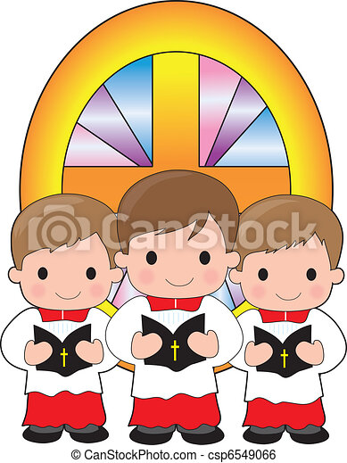 a trio of altar boys are holding bibles and standing in clip art rh canstockphoto com wedding altar clipart clipart altar flowers
