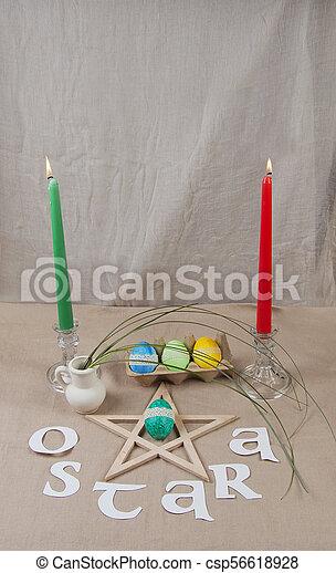 Altar for Ostara sabbath - csp56618928