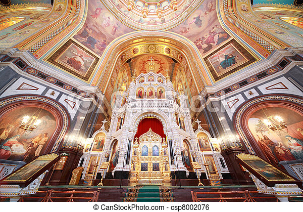 Altar inside Cathedral of Christ the Saviour in Moscow, Russia - csp8002076