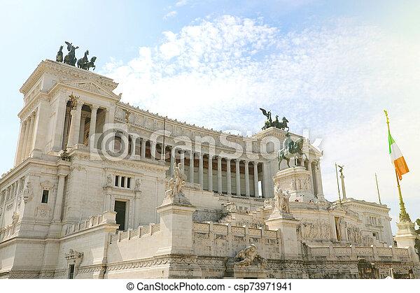 "Altar of the Fatherland (Altare della Patria) known as the Monumento Nazionale a Vittorio Emanuele II (""National Monument to Victor Emmanuel II"") or Il Vittoriano in Rome, Italy. - csp73971941"