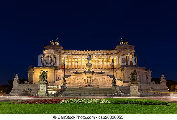 Altare della Patria by night - Rome, Italy - csp20826055