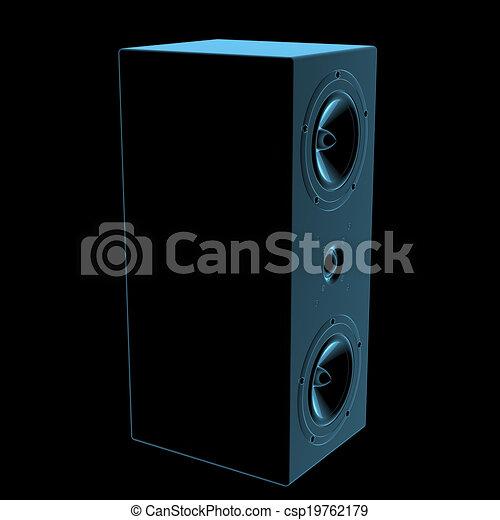 Un altavoz de rayos X azul transparente aislado en negro - csp19762179