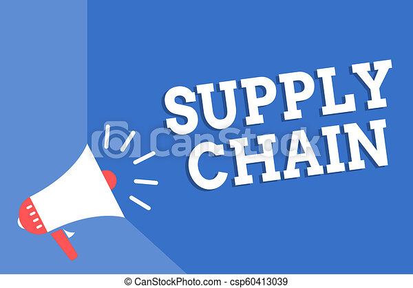 La cadena de suministro de texto escrito a mano. Concepto el sistema de organización y procesos de proveedor a consumidor Megaphone altavoces de fondo azul importante mensaje en voz alta. - csp60413039
