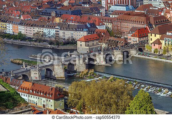 Alte Mainbrucke (old bridge), Wurzburg, Germany - csp50554370