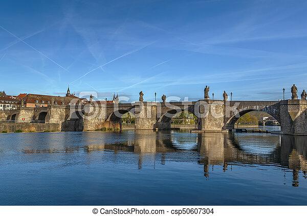Alte Mainbrucke (old bridge), Wurzburg, Germany - csp50607304