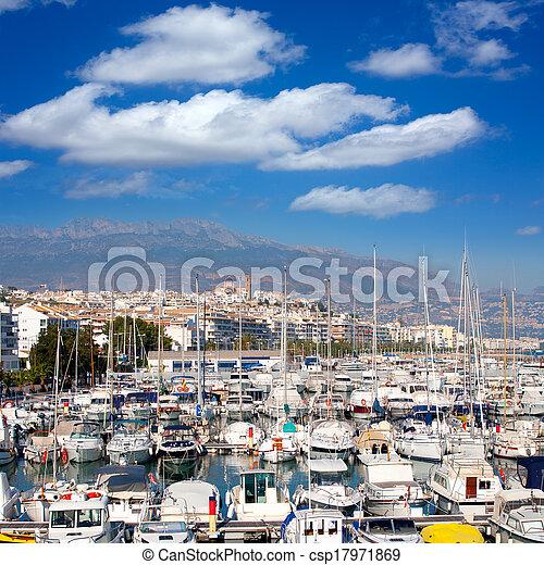 Altea village in alicante with marina boats foreground - csp17971869