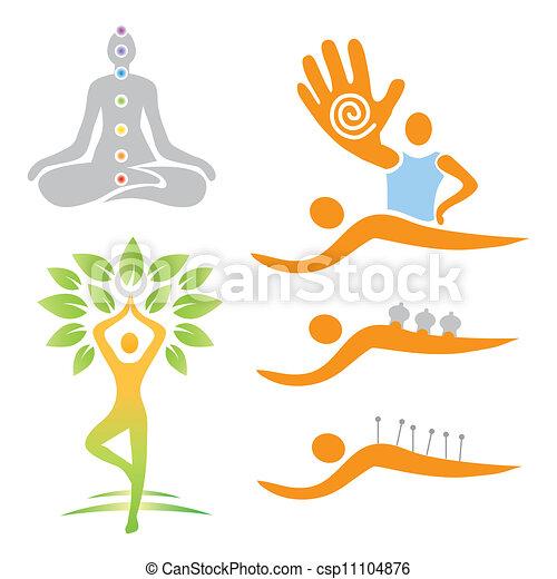 alternativa, medi, ioga, massagem, ícones - csp11104876