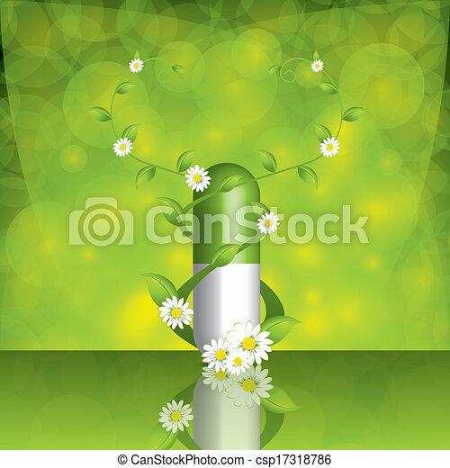 alternativa, verde, pillola - csp17318786
