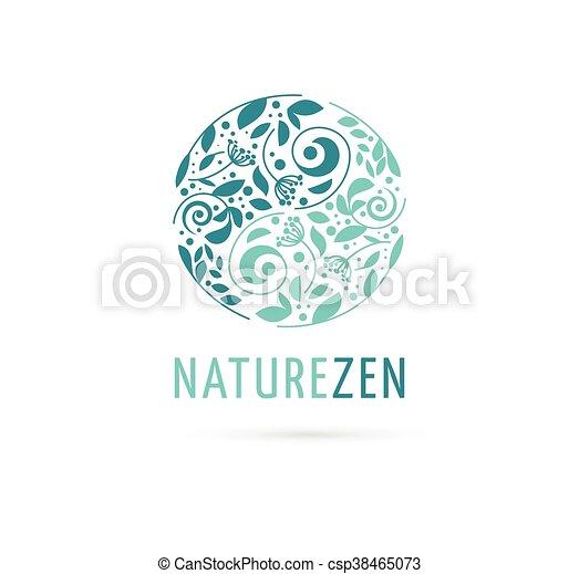 Alternative, Chinese medicine and wellness, herbal, zen meditation concept - vector yin yang icon, logo - csp38465073
