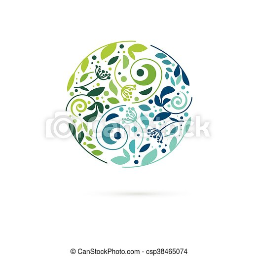 Alternative, Chinese medicine and wellness, herbal, zen meditation concept - vector yin yang icon, logo - csp38465074