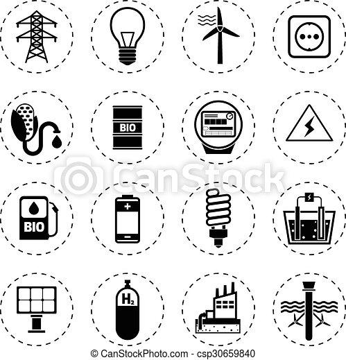 Alternative Energy Icons Black - csp30659840