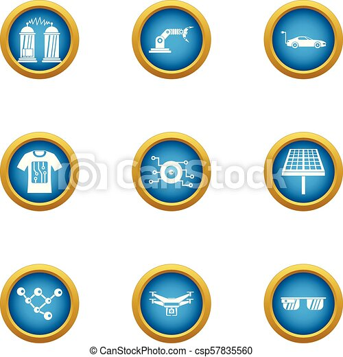 Alternative energy icons set, flat style - csp57835560