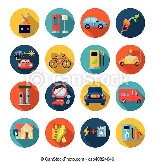 Alternative Energy Round Icons Set - csp40824646