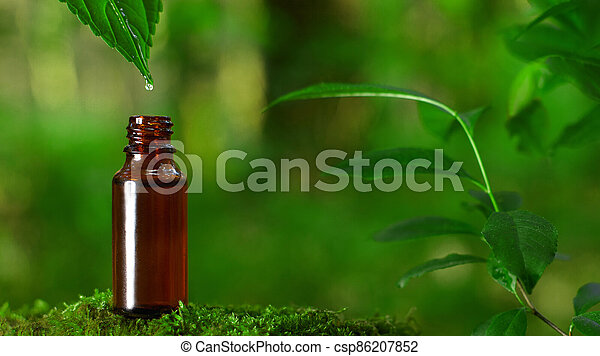 Alternative green herbs, natural skin care cosmetics, a drop falling into the bottle - CONCEPT - csp86207852