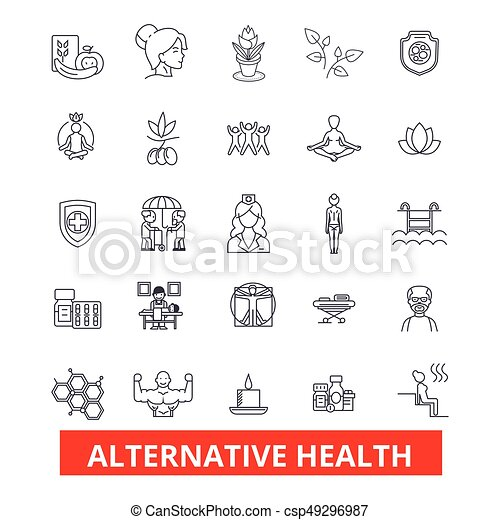Alternative Health Healing Medicine Acupuncture Therapy Herbal Homeopathy Line Icons Editable Strokes Flat Design Vector Illustration Symbol