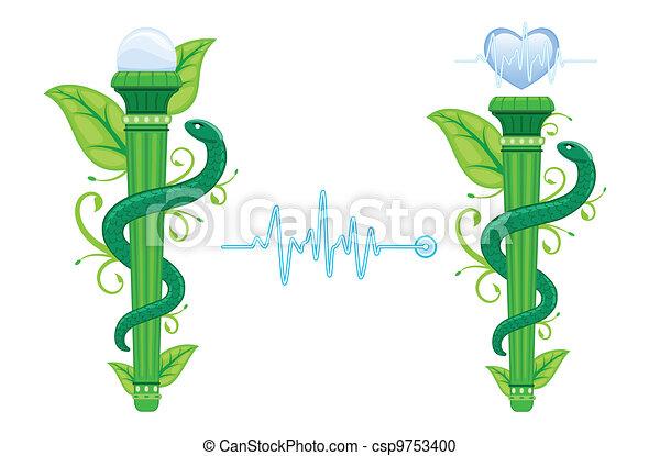 Alternative Medicine symbol - The Green Asklepian - csp9753400