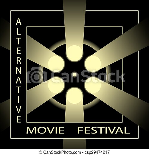 Alternative Movie Festival Cinema Film Poster Template Black And Gold Vector Illustration