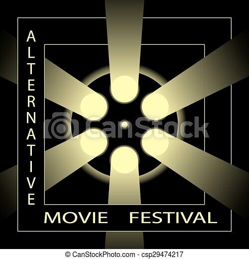 Alternative Movie Festival Cinema Film Poster Template Black And Gold Vector Illustration