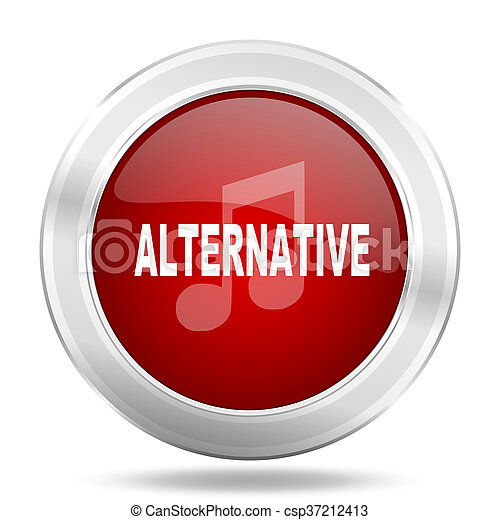 alternative music icon, red round glossy metallic button, web and mobile app design illustration - csp37212413