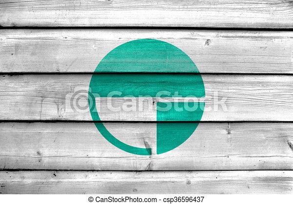 Flagge Von Nagano Japan Gemalt Auf Alten Holzplanken Hintergrund