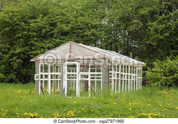 Altes Gewachshaus Gemacht Altes Bauernhof Fenster Holz