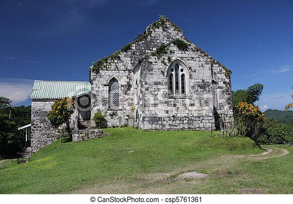 altes , jamaikanisch, kirche - csp5761361