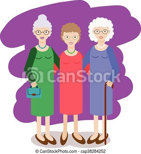 Älteres weibliches Mitglied einer Gruppe