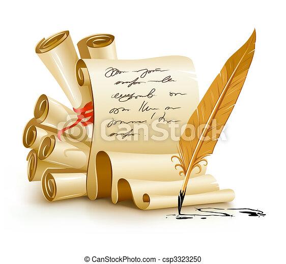 Papier-Skripte mit handschriftlichen Texten und alten Tintenfedern - csp3323250