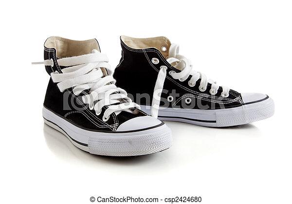 alto, cima nera, scarpe tennis, bianco - csp2424680