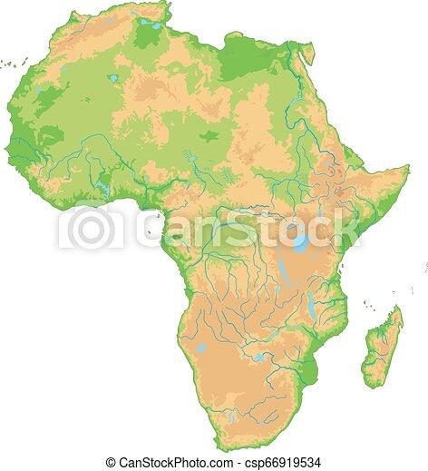 Un mapa físico muy detallado de África. - csp66919534