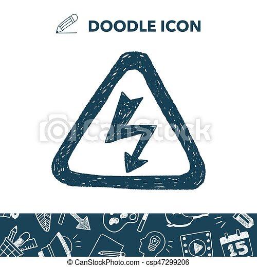 alto, doodle, voltagem, sinal - csp47299206