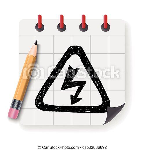 alto, doodle, voltagem, sinal - csp33886692