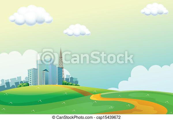 alto, edificios, colinas, a través de - csp15439672