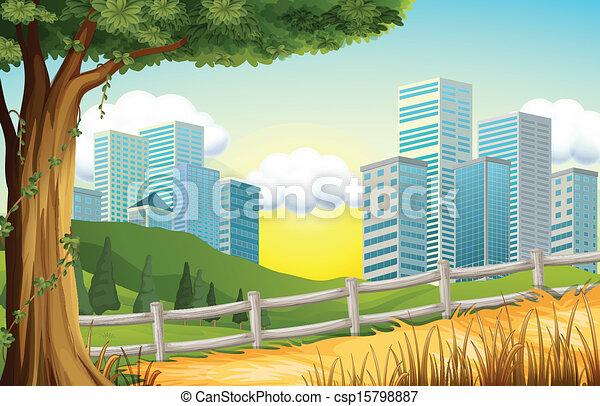 alto, edificios, colinas, cerca - csp15798887