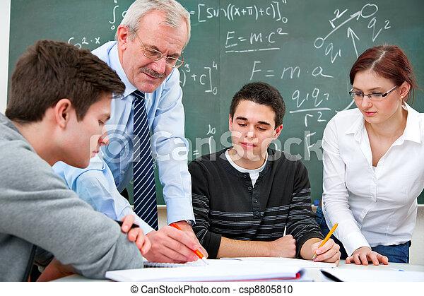 alto, estudantes, professor escola - csp8805810