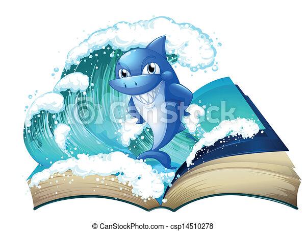 alto, grande, squalo, libro, onda - csp14510278