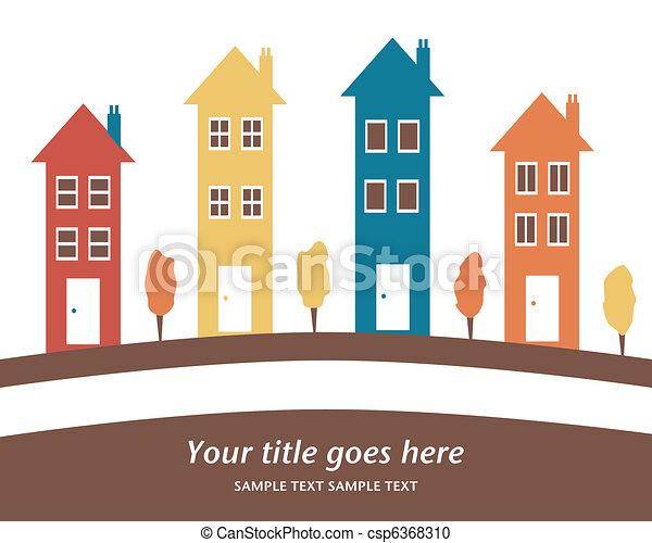 alto, houses., colorido, fila - csp6368310