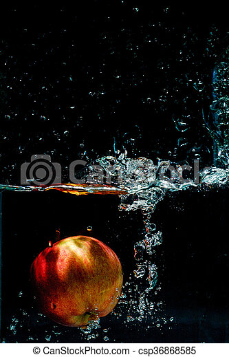 alto, maçã, fotografia, água, respingo, velocidade - csp36868585