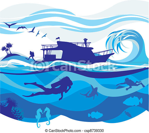 alto, mergulhar, mares - csp8739330