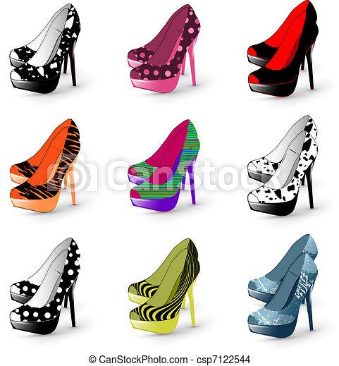 3aa2c0e0 Alto, mujer, shoes, tacón. Mujer, shoes, ilustración, moda alta ...