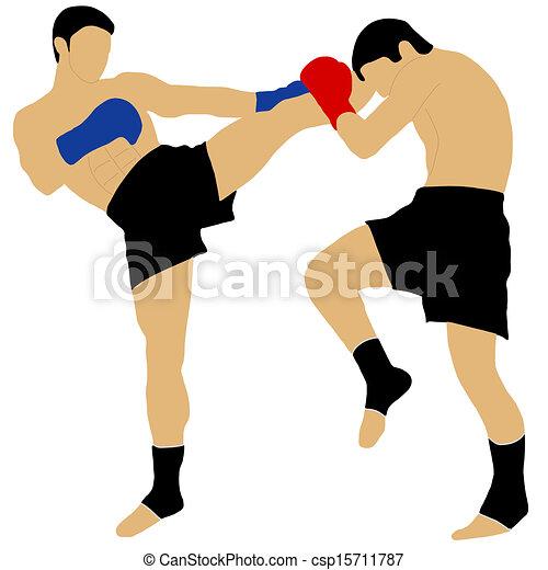 Dos boxeadores peleando con una patada alta - csp15711787