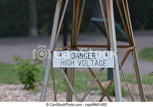 alto, pericolo, tensione, segno - csp49661493