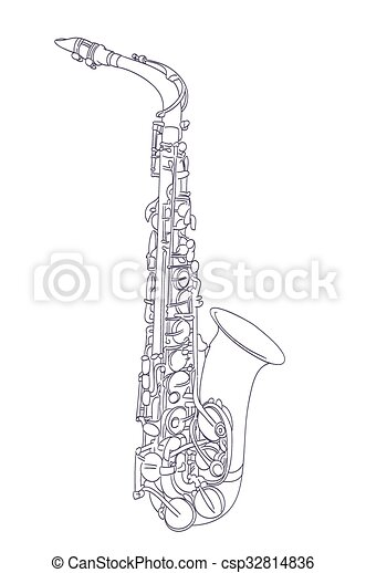 alto saxophone drawing on white. vector - csp32814836