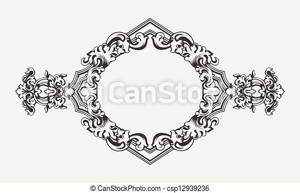 alto, vecchio, cornice, romb, ornare - csp12939236