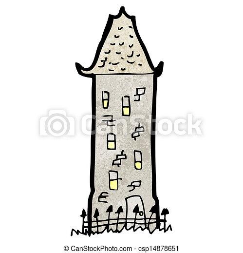 alto, viejo, caricatura, casa - csp14878651