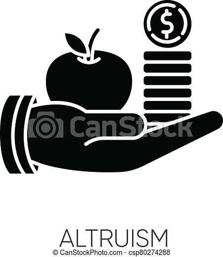 Altruism black glyph icon. Selfless giving and sharing, moral virtue. Financial support, friendly aid silhouette symbol on white space. Lending money, credit loan. Vector isolated illustration - csp80274288