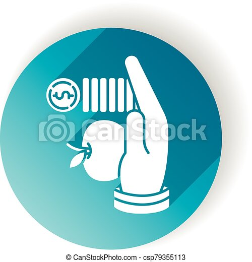 Altruism blue flat design long shadow glyph icon. Selfless giving and sharing, moral virtue. Financial support, philanthropy. Lending money, credit loan. Silhouette RGB color illustration - csp79355113