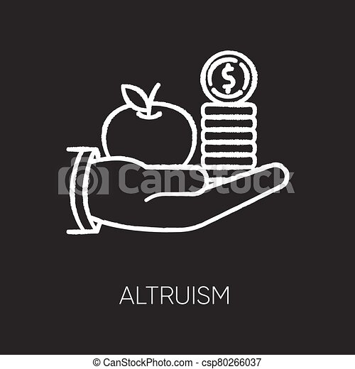 Altruism chalk white icon on black background. Selfless giving and sharing, moral virtue. Financial support, friendly aid. Lending money, credit loan. Isolated vector chalkboard illustration - csp80266037